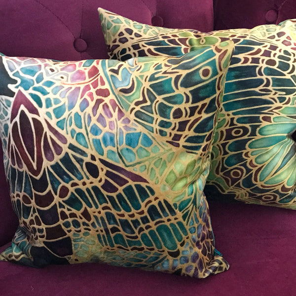 Green Butterfly Velvet Cushions. Green Lime Velvet Cushions