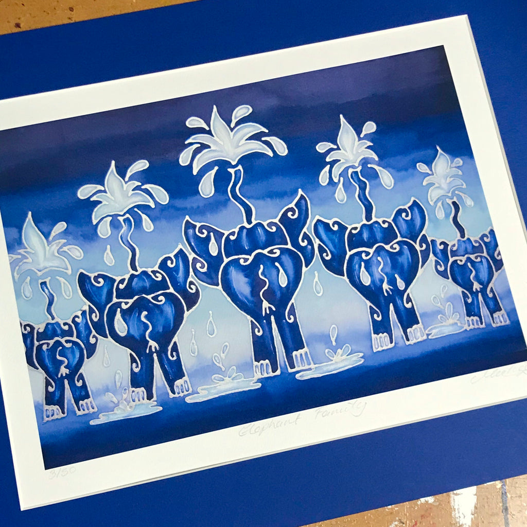 Fun Elephant Print - Deep Blue Elephant Family Art Print - Baby Elephant Print - Wildlife Art