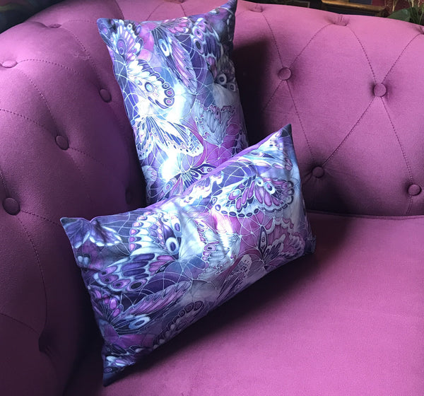 Contemporary Butterfly Cushions - Purple and Grey Butterflies - Interior Design