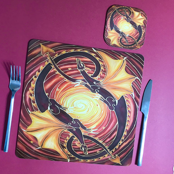Sun Dragons Square Table Mats & Coasters - Wildlife Table Mats