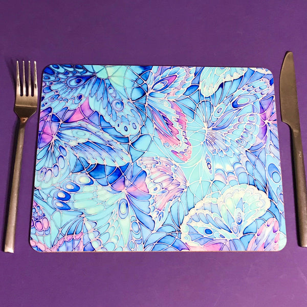 Table Mats Blue Butterflies - blue green turquoise placemats -  butterfly coasters tableware - glass chopping boards / counter savers, serving trays, mugs and mouse mats