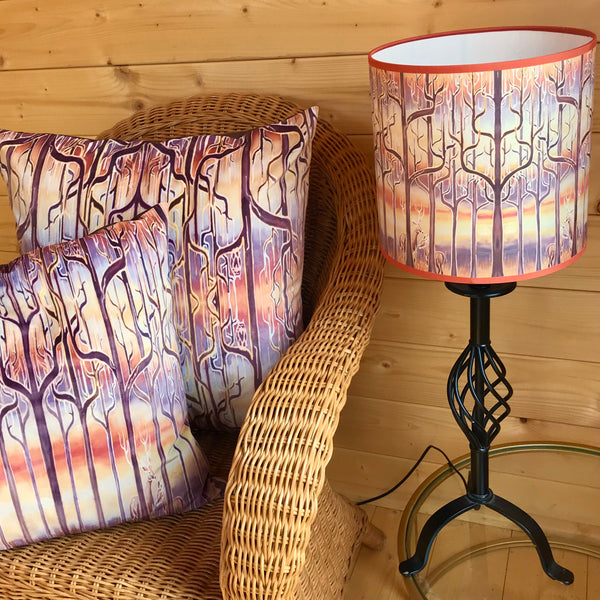 Deco Trees Contemporary Lamp Shade - Stag in Trees Effect Drum Shade - Atmospheric lighting