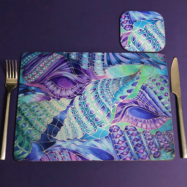 Shells Table Mats & Coasters - Blue Green Placemats & Coasters - Round Placemats & Coasters