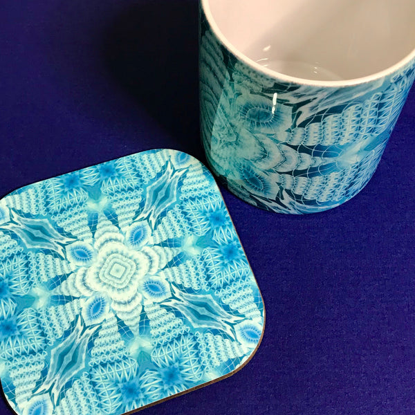 Cool aqua patterned mug and coaster box set or Mug only - Colourful Mug Set - Red pink Mug Gift
