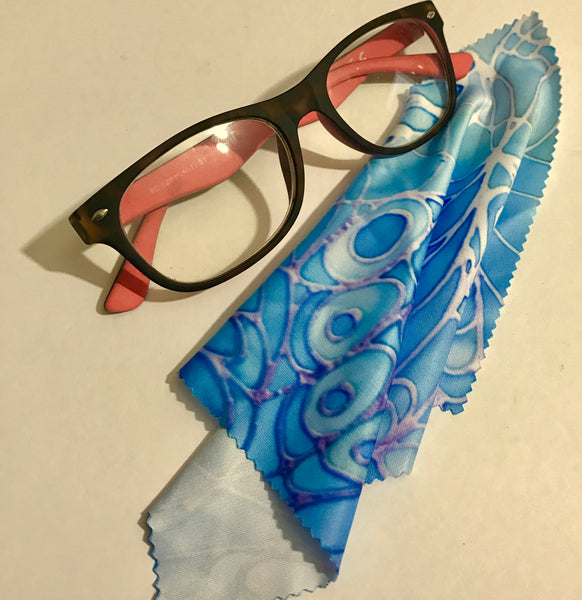blue glasses cleaning cloth - pretty butterfly cleaning cloth - phone screen cleaning cloth.