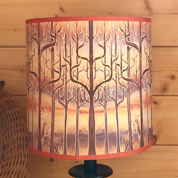 Into the Woods Contemporary Lamp Shade - Blue Teal Trees Effect Drum Shade - Atmospheric lighting