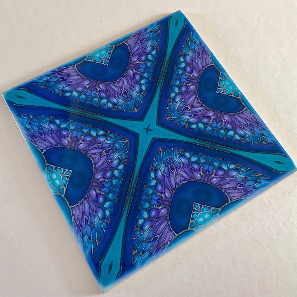 Persian Kaleidescope Tiles - contemporary tile in blue green purple and turquoise 6x6""