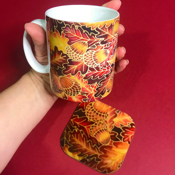 Autumnal Oak Leaves and Acorns Mug - Mug and Coaster Box Set - Red Mug Set - Leaves Mug Gift