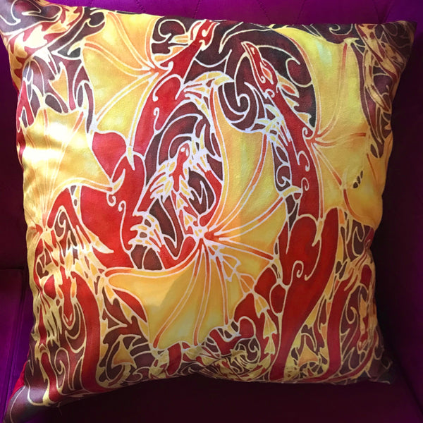 Dramatic Red Dragon Family Luxury Velvet Cushion - Gift for Dragon Lover - Animal Cushion