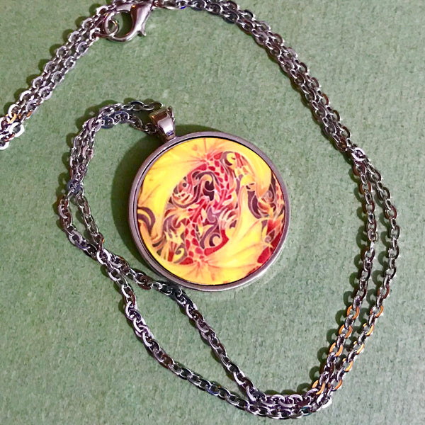 Red Kissing Dragons Pendant - Fiery Red Dragon Necklace - Affordable gift