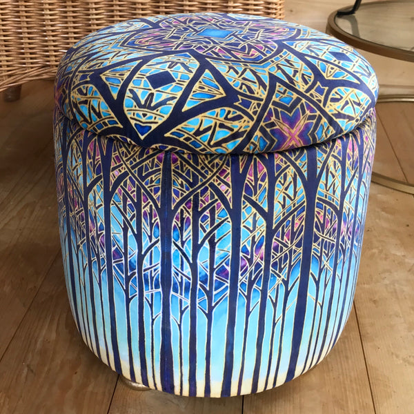 Stunning Cathedral Window Round Footstool with storage - one off Bespoke Upholstery.