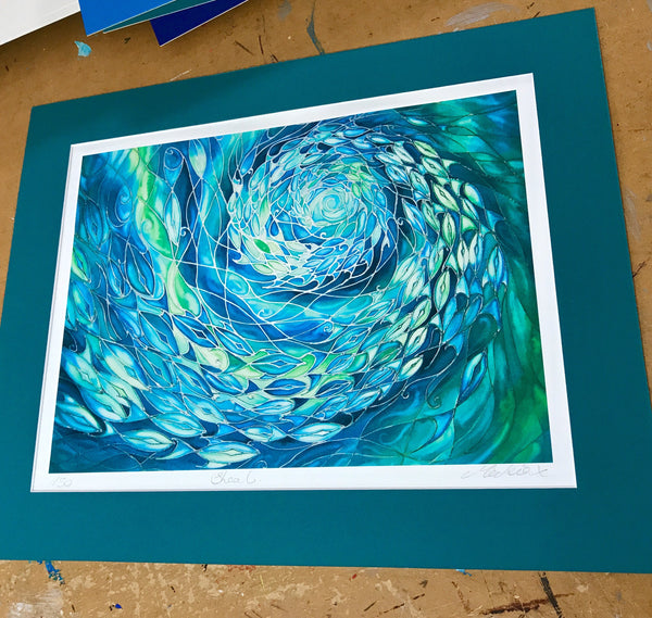 Sea Green Shoal Print - Ocean Lovers Gift - Sealife Lovers Art - Meikie Designs