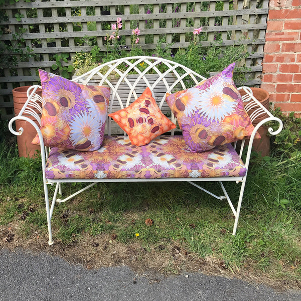 Beautful Peacock Bench Seat - Made to Order Chair Seat - Shower Proof Exterior Textiles - Pretty Garden Seating