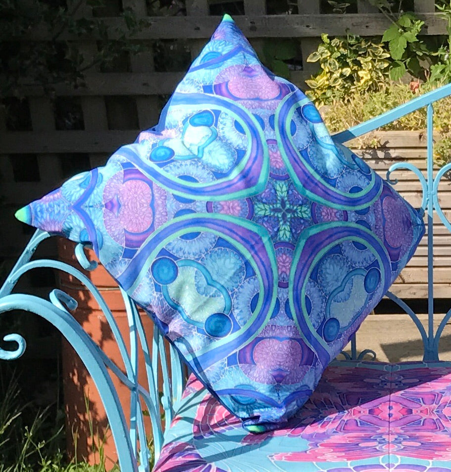 Blue Green Shower Proof Cushions - Bohemian Style Practical Outdoor Cushions