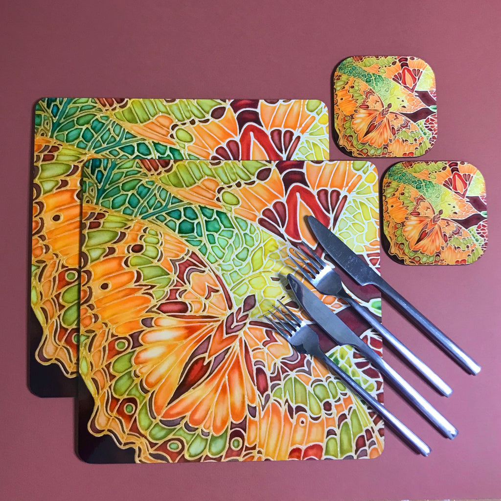 Green Caramel Butterfly Table Mats & Coasters - Butterfly Table Mats