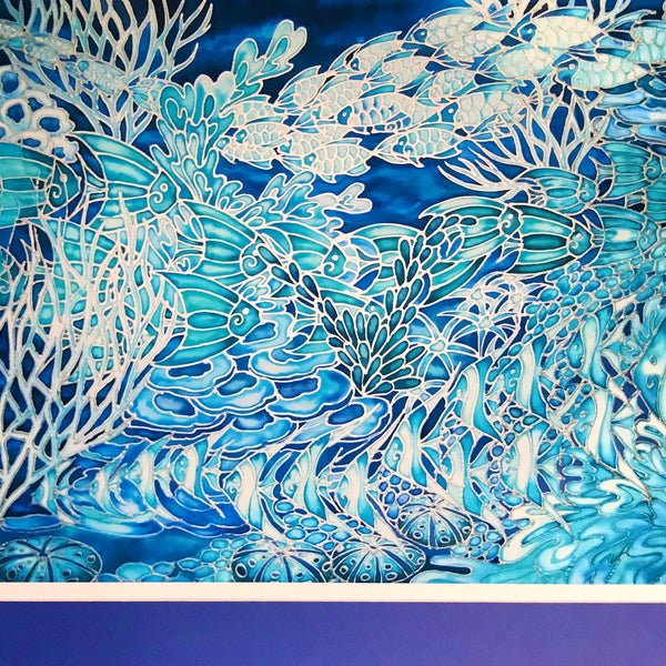 Blue Coral Reef Print - Ultramarine Aqua Fish in Coral Reef Print - Bathroom Art