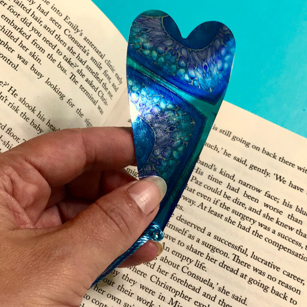 Persian Design Heart Book Mark Comtemporary Circles  lightweight aluminium.