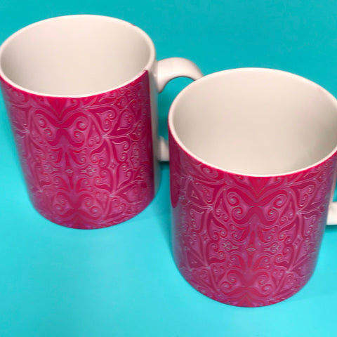 Bright Pink Patterned Heart  mug and coaster set or mug only -Mug Set -  Mug Gift