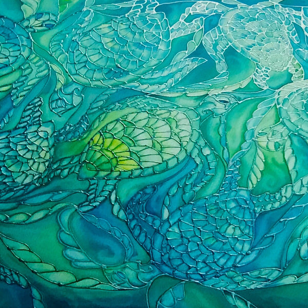 Green turtles Signed Print - Turles swimming in the Sea - Sea Green Turtle Print - Bathroom Art