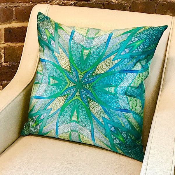 Mint Green Velvet Cushion - Luxury Green Velvet Fabric - Mint Teal Apple pillow