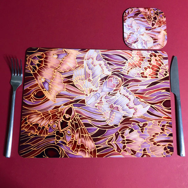Moths Placemats & Coasters - Chocolate Lilac Grey Table Mats - glass chopping boards