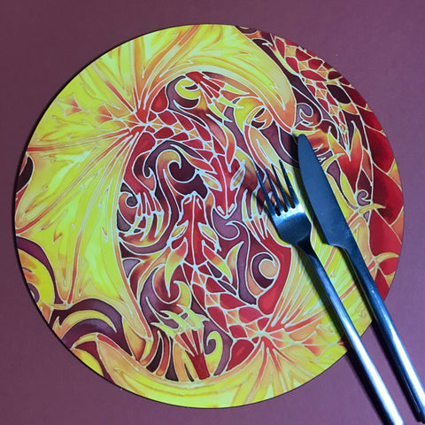 Dramatic Intertwined Dragons Round Table Mats & Coasters - Table Mats