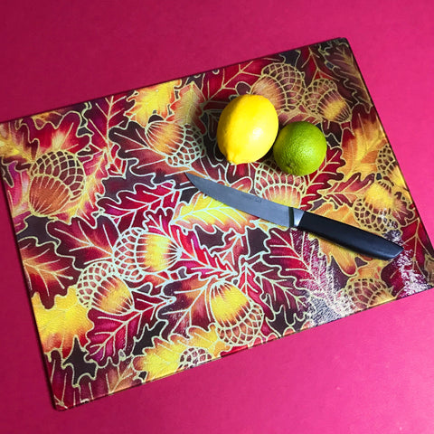 Oak Leaves Heatproof Glass Chopping Boards - Table Mat - Red Yellow Placemats & Coasters - Heatproof Glass Chopping Boards