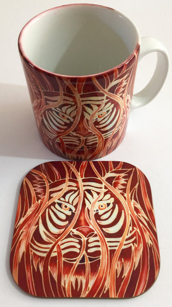 Tiger Mug & Coaster - Tiger Mug Gift set - Wildlife Lovers gift