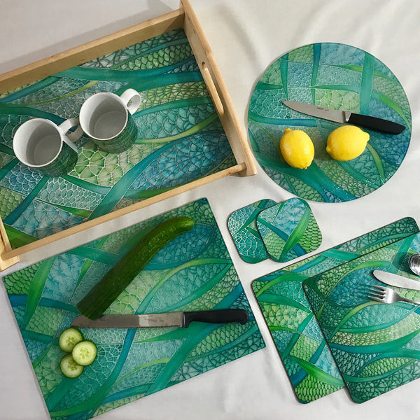 Green Tableware - Lime Green Placemats - Green Coasters - Green Glass Chopping boards - Green Glass Counter Savers - Green Glass Serving Platters - Fish Scales - Green melamine serving tray - Green table mats - Durable hardwearing table mats - Meikie designs