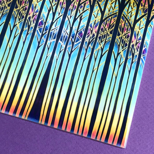 Cathedral Trees Ceramic Tiles - Multi coloured Bohemian  Ceramic Printed Tiles