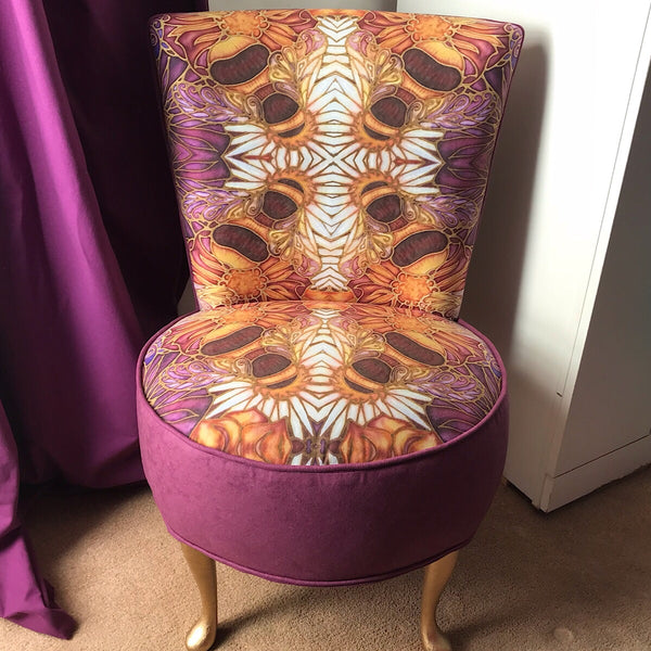 Honey Bees Bedroom Chair - Bees and Flowers Small Chair - Bespoke Upholstery.