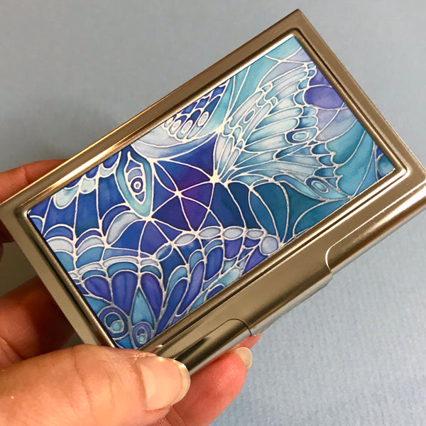 Blue Butterfly Business Card Holder