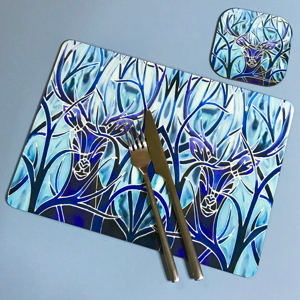 Blue Stags Rectangular Table Mats & Coasters - Wildlife Table Mats