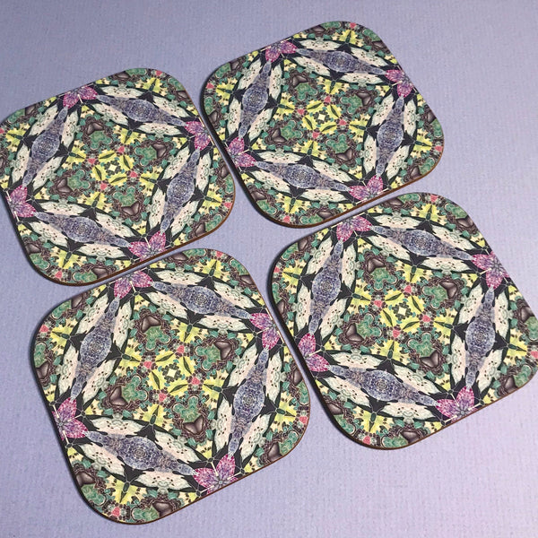 Kaleidoscope Butterfly Square Table Mats & Coasters - Lilac Charcoal Pink and Green Table Mats