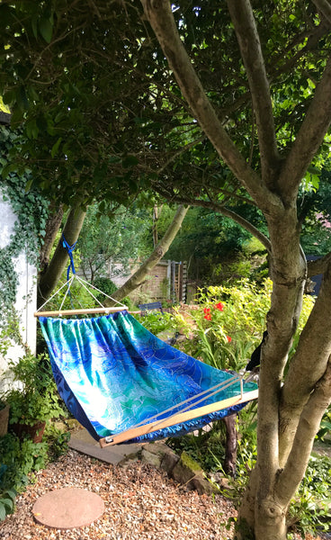Gorgeous Blue Green Reversible Hammock - featuring Blue Shoal on one side and Dragonflies on the reverse.