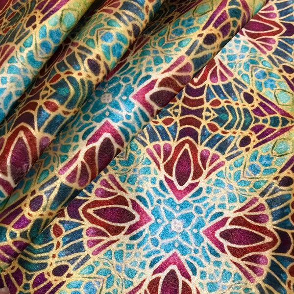 Teal Green Red Lime Gold 'Diamond Butterflies' Designer 100% Cotton Satin fabric for curtains, upholstery and soft furnishings