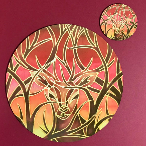 Red Stag Glass Chopping Board - Stag Trivet - Forest Pot Stand - Heat Proof Table Top Saver - Decorative Platter