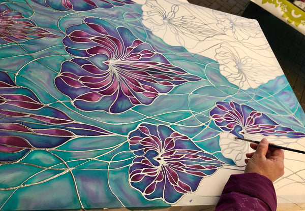 Lilac Orchid Silk Painting - Hand Painted Silk Orchids - purple lilac flower art