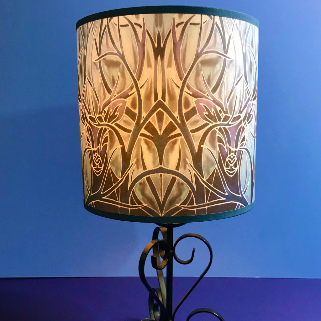 Stag Contemporary Lamp Shade - Blue Stag Drum Shade - Atmospheric lamp Shade