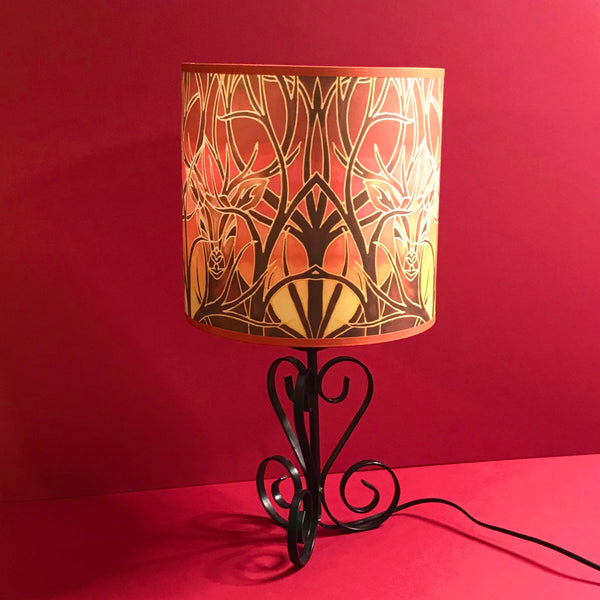 Red Stag Lampshade - Stag Sunset Drum Shade - Atmospheric Lamp Shade
