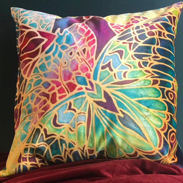Luxurious Teal Butterfly Velvet Cushions, Green Lime Red & Plum Velvet Pillows