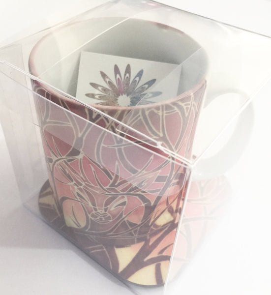 Beech Leaves Mug - Mug and Coaster Box Set - Red Mug Set - Autumn Mug Gift