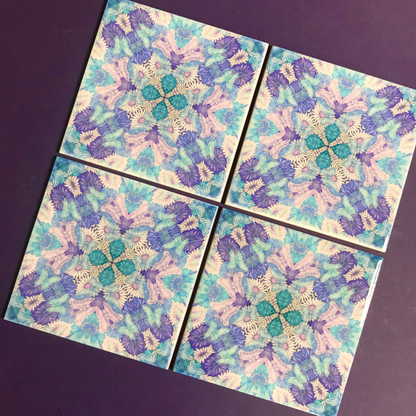 Pretty Stylised Flower Tiles - Liac Turquoise Bohemian Ceramic Printed Tiles