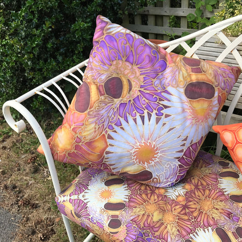 Honey Bees Garden Cushion - Shower Proof Canvas Textiles - Bespoke Bench Seats