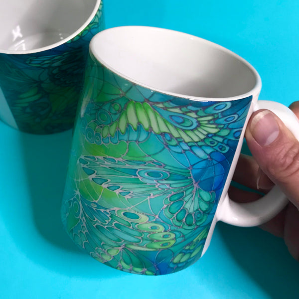 Pretty Green Butterfly mug and coaster box set or Mug only - Minty Green Mug Set - Butterfly Mug Gift