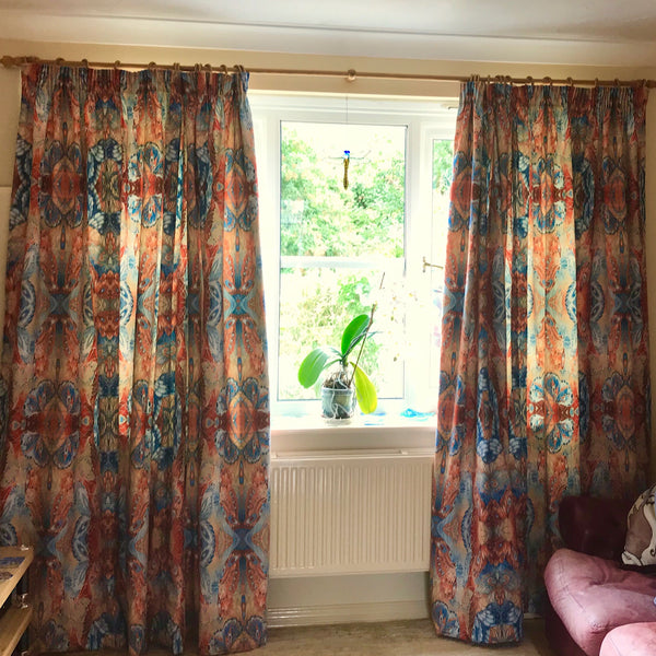 Chenille Butterfly Made to Order Curtains.  Blue Teracotta Bespoke Designer Fabrics