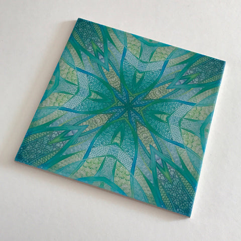 Contemporary Fish Tiles - Green Turquoise Tiles - Bohemian Ceramic Printed Tiles