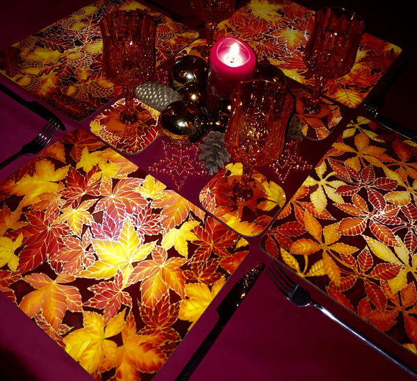 Red Elipse Placemats & coasters - Red glass chopping boards - Red Serving Trays
