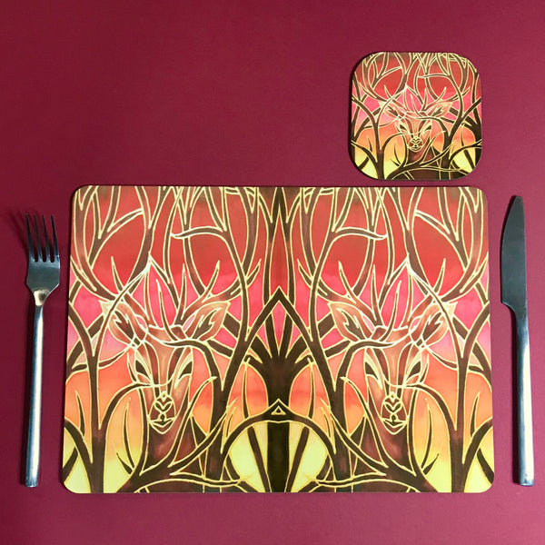 Red Stags Rectangular Table Mats & Coasters - Wildlife Table Mats