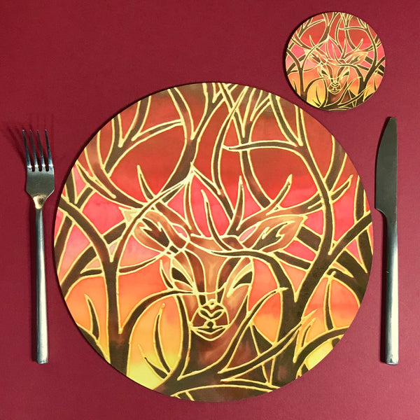 Red Stag Glass Chopping Board - Stag Trivet - Blue Pot stand - Heat Proof Table Top saver - Decorative platter